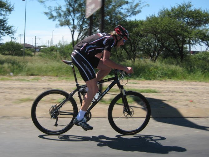 mountain bike in a road race
